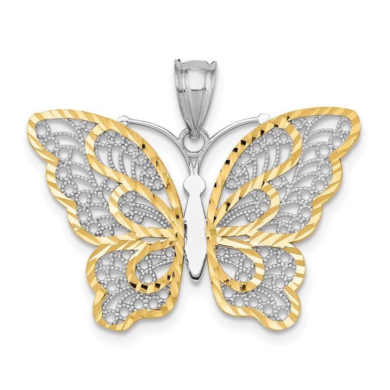 Quality Gold 14k White Gold W/Yellow Rhodium Polished Filigree Butterfly Pendant