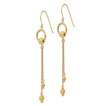 14K Gold Diamond Cut Dangle Shepherd Hook Earrings