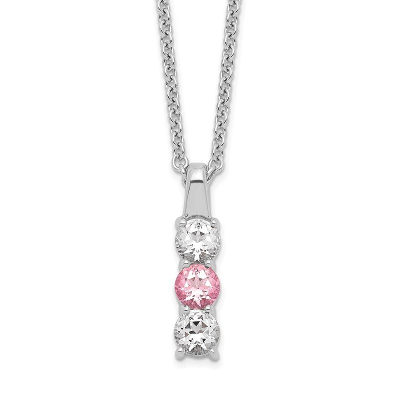 Quality Gold Sterling Silver Survivor Clear & Pink Swarovski Topaz Drop of Courage Neck