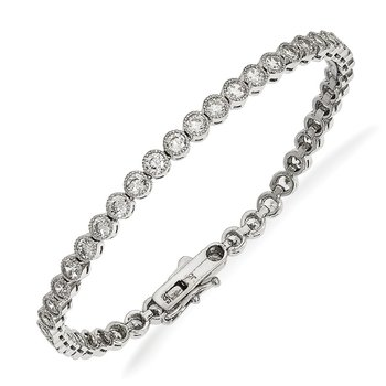 Sterling Silver Rhodium-plated CZ Bracelet