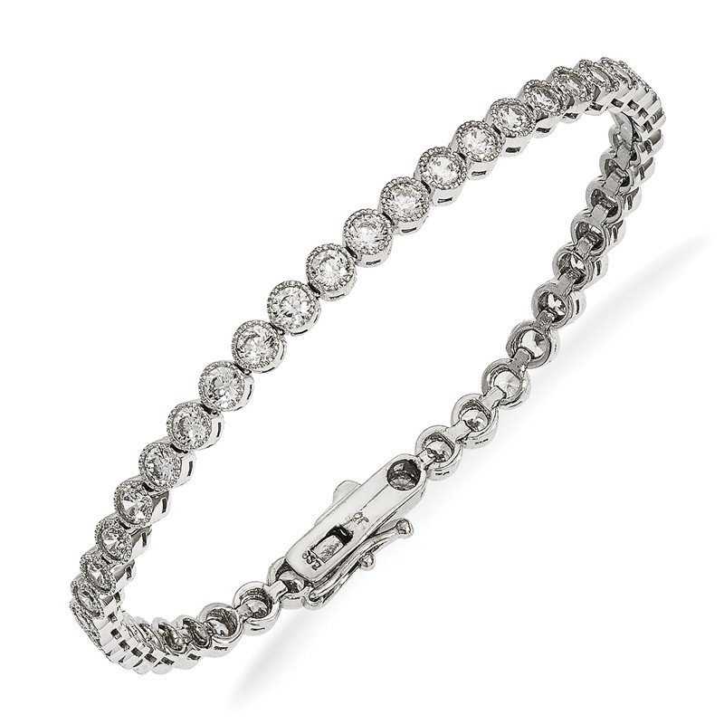 Quality Gold Sterling Silver Rhodium-plated CZ Bracelet