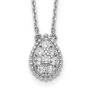 Sterling Silver CZ Teardrop 18in Necklace
