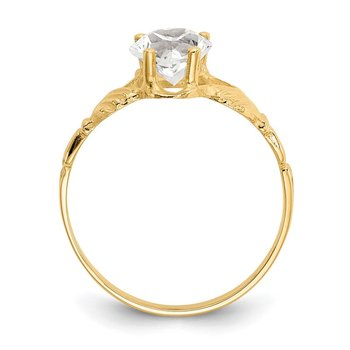 14k April CZ Birthstone Claddagh Ring
