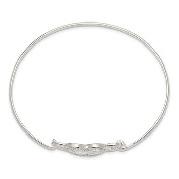 Sterling Silver CZ Heart Bangle