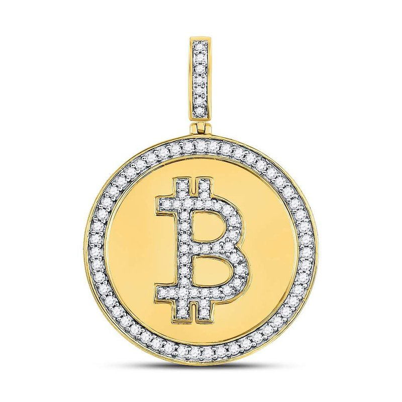 Gold-N-Diamonds, Inc. (Atlanta) 10kt Yellow Gold Mens Round Diamond Bitcoin Circle Charm Pendant 7/8 Cttw