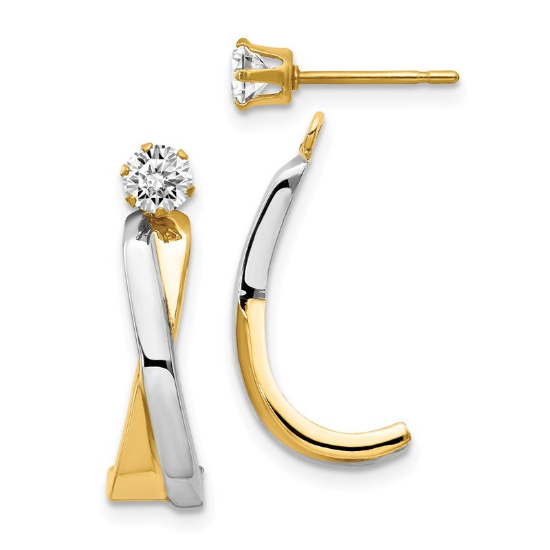 Quality Gold 14k & Rhodium J-Hoop with CZ Stud Earring Jackets