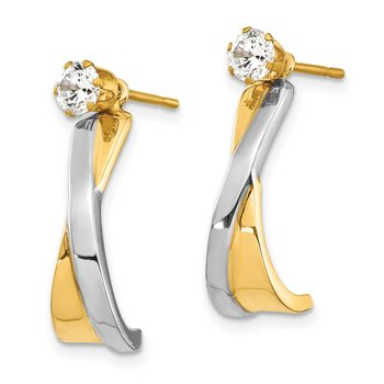 14k & Rhodium J-Hoop with CZ Stud Earring Jackets