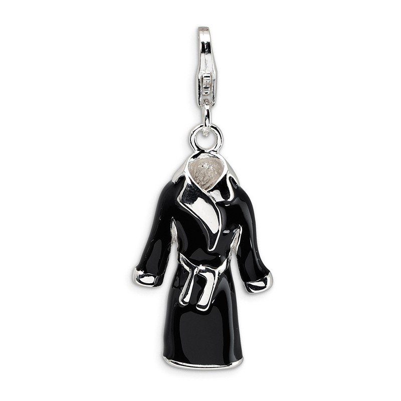 Quality Gold Sterling Silver 3-D Enameled Black Robe w/Lobster Clasp Charm