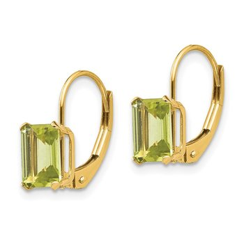 14k Madi K Emerald Shape Peridot Leverback Earrings