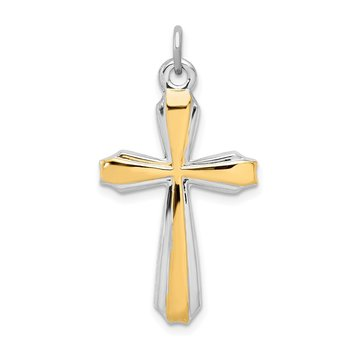 Sterling Silver Rhodium-plated & 18k Gold-plated Cross Pendant