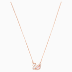 Swarovski Dazzling Swan Necklace, Multi-colored, Rose-gold tone plated