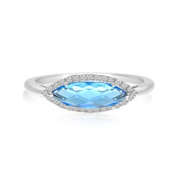 14K White Gold East West Marquis Blue Topaz and Diamond Ring