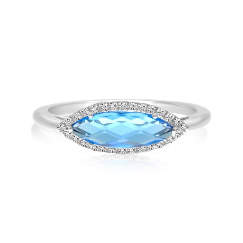 Color Merchants 14K White Gold East West Marquis Blue Topaz and Diamond Ring