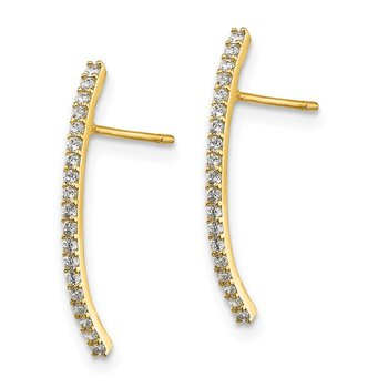 14k Polished Curved CZ Bar Post Earrings