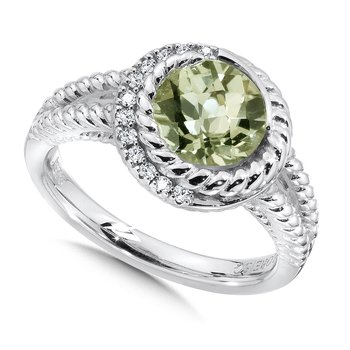 Sterling silver, green amethyst and white diamond ring