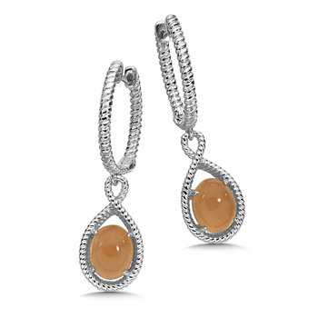 Sterling Silver Orange  Moonstone Essentials Dangle Hoop Earrings