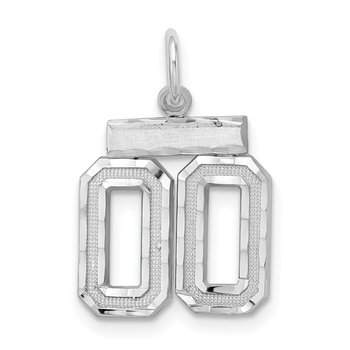 Sterling Silver Rhodium-plated Small Diamond-cut #00 Charm