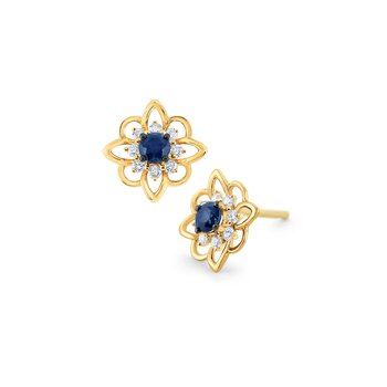 Blue Sapphire & Diamond Arabesque Earrings Set in 14 Kt. Gold