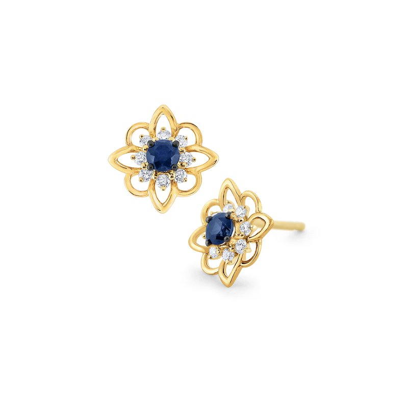 MAZZARESE Fashion Blue Sapphire & Diamond Arabesque Earrings Set in 14 Kt. Gold