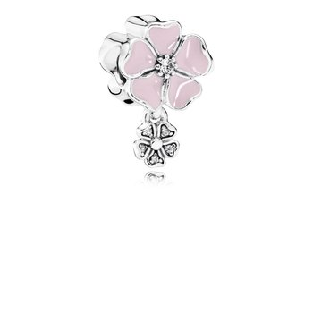 Poetic Blooms, Soft Pink Enamel Clear Cz