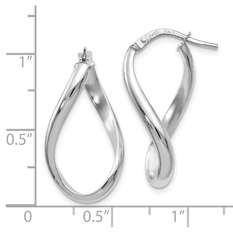 Leslie's Leslie's 14K White Gold Polished Oval Twisted Hoop Earrings