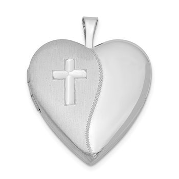 Sterling Silver Rhodium-plated 20mm Cross Satin/Polished Heart Locket