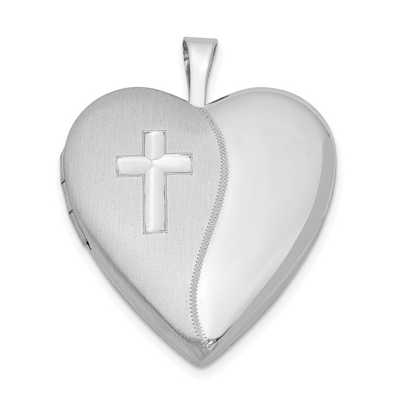 Quality Gold Sterling Silver Rhodium-plated 20mm Cross Satin/Polished Heart Locket
