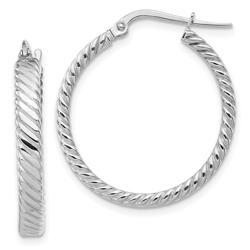 Quality Gold 14K White Gold 3.25mm Patterned Hoop Earrings