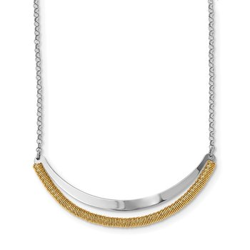 Sterling Silver RH plated/Gold-plated Curved Bar w/2in ext Necklace