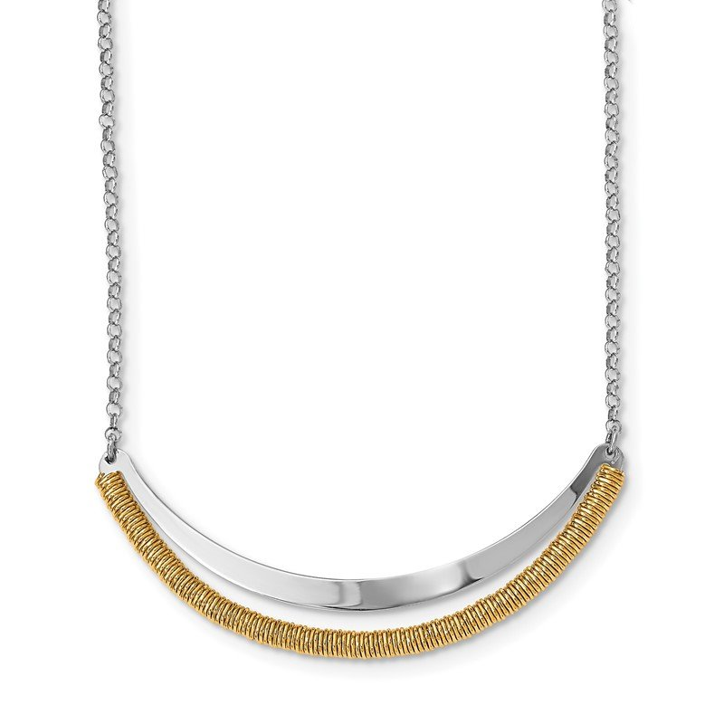 Quality Gold Sterling Silver RH plated/Gold-plated Curved Bar w/2in ext Necklace
