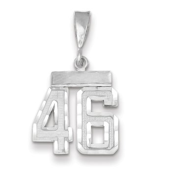 14k White Gold Small Diamond-cut Number 46 Charm