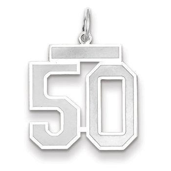 14k WG Medium Satin Number 50 Charm