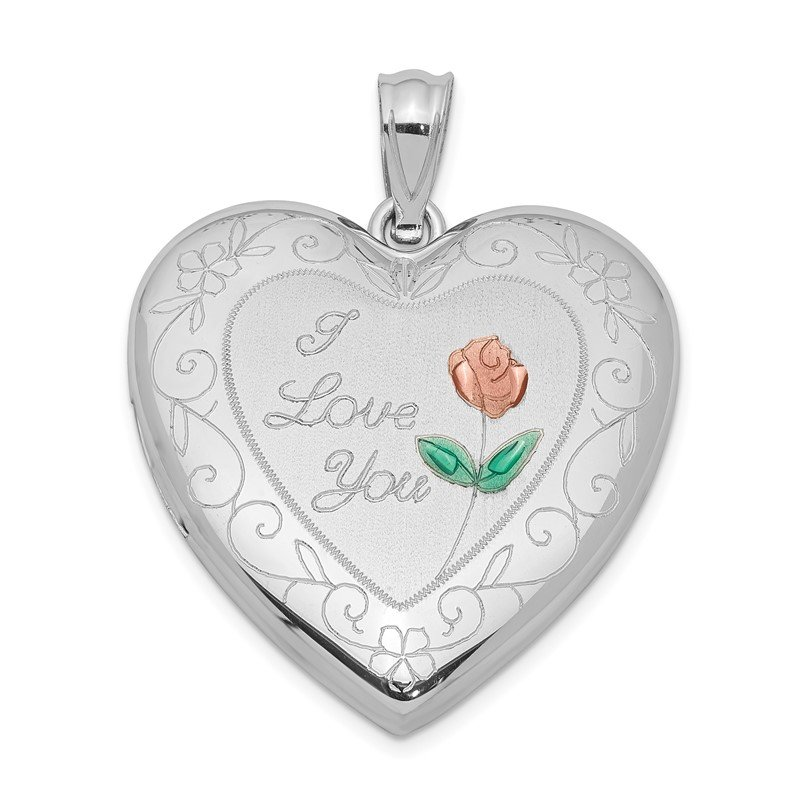 Quality Gold Sterling Silver Rhodium-plated 24mm Enameled Rose with Border Heart Locket