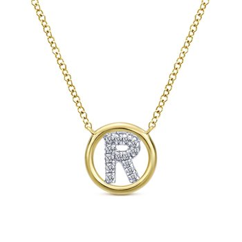 "14K Yellow Gold Diamond ""R"" Initial Necklace"