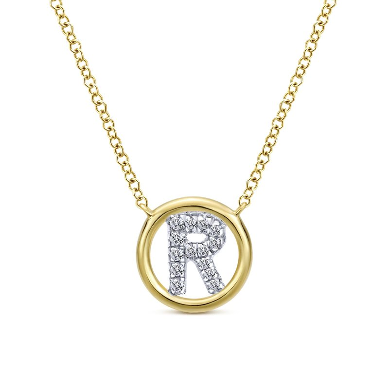 "Amavida 14K Yellow Gold Diamond ""R"" Initial Necklace"