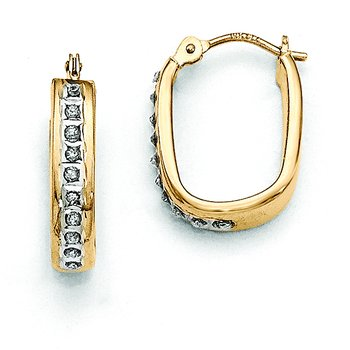 14k Diamond Fascination Squared Hinged Hoop Earrings