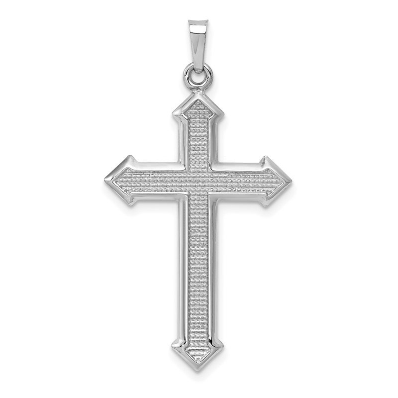 Quality Gold 14k White Gold Polished and Textured Cross Pendant