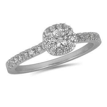14K WG Diamond Engagement Ring with Cushion Shape Halo and Round Center in Prong Setting