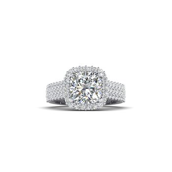 OMG Series Triple Row Cushion Shaped Diamond Engagement Ring