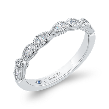 18K White Gold Pear and Round Diamond Half-Eternity Wedding Band