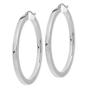 14k White Gold 3mm Polished Square Tube Hoop Earrings