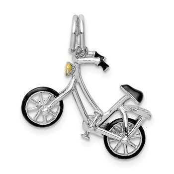 Sterling Silver Rhodium-plated Enameled Moveable Bicycle Pendant
