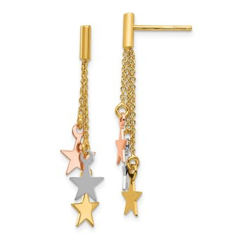 14K Tri-color Polished Dangle Stars Post Earrings