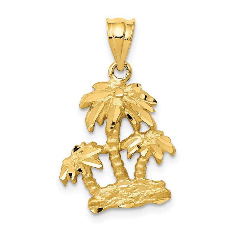 Quality Gold 14k Satin Diamond-cut Open-Backed Palm Trees Pendant
