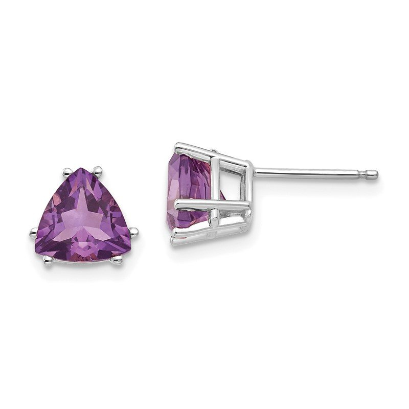 Quality Gold 14k White Gold 7mm Trillion Amethyst Earrings