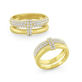 Diamond Pavé Overlay Ring Set in 14 Kt Gold