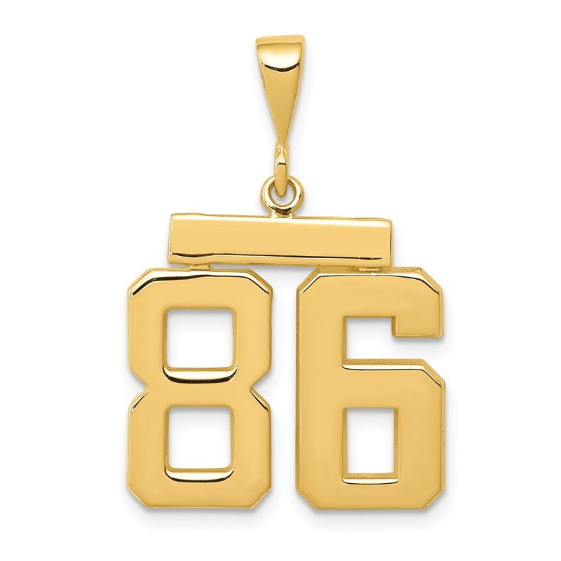 Quality Gold 14k Medium Polished Number 86 Charm