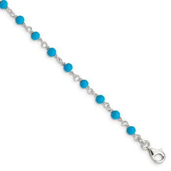 Sterling Silver Genuine Turquoise Bead Polished Bracelet