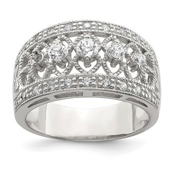 Sterling Silver Rhodium-plated Polished CZ Vintage Ring