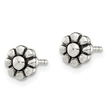 Sterling Silver Antique Flower Stud Earrings